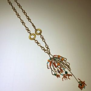 Vintage chain Coral Beaded Chain Tassel Necklace